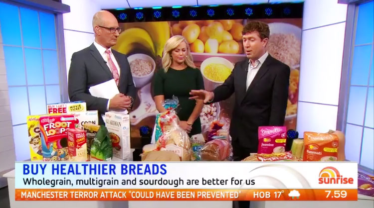 Dr Alan Barclay presents a range of carbohydrate food choices on Channel 7's Sunrise programme